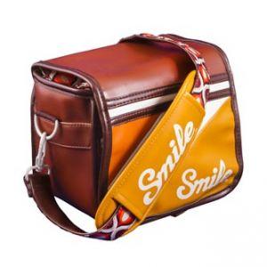 Taška na fotoaparát, eko kůže/nylon, oranžová, 70ś Style S, s popruhem, 2v1 oboustranná, S