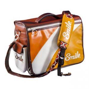 Taška na fotoaparát, eko kůže/nylon, oranžová, 70´s Style M, s popruhem, 2v1 oboustranná,