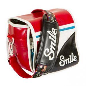 Taška na fotoaparát, eko kůže/nylon, barevná, Pin Up S, s popruhem, 2v1 oboustranná, Smile