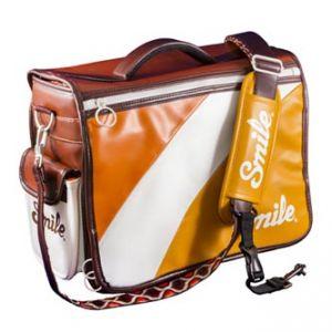Taška na fotoaparát, eko kůže/nylon, oranžová, 70´s Style L, s popruhem, 2v1 oboustranná,
