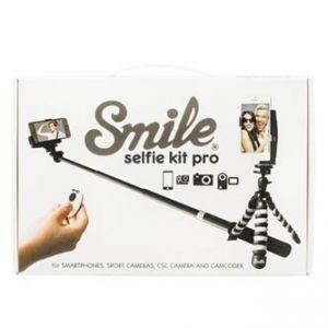 Selfie sada PRO, kov/plast, černá, s dálkovým ovládáním bluetooth a držákem, s obalem, Smi