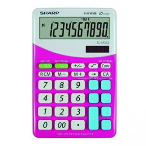 Kalkulačka SHARP, ELM332BPK, růžovo-bílá, stolní, desetimístná