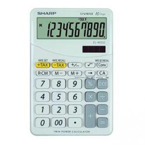 Kalkulačka SHARP, ELM332BWH, bílá, stolní, desetimístná