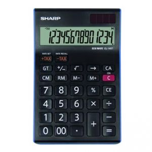 Kalkulačka SHARP, EL145TBL, černo-modrá, stolní, čtrnáctimístná