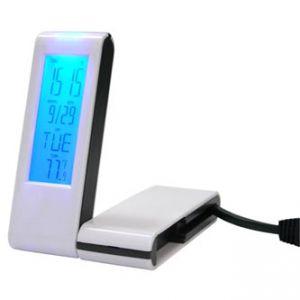 USB (2.0) hub 4-port, bílý, podsvícený, hodiny, budík, časovač