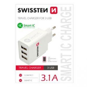 SWISSTEN Síťový adaptér, 3x USB 3,1A, 100V - 240V, 5V