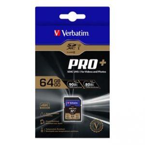 VERBATIM Paměťová karta SDXC Pro+, 64GB, SDXC, 49197, U3