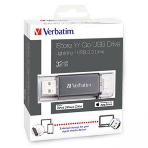 VERBATIM USB flash disk OTG, 3.0/Lightning, 32GB, iStore,N,Go Lightning, černý, 49300