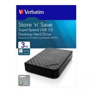 "VERBATIM Externí pevný disk, Store,N,Save, 3.5"", USB 3.0, 3TB, 47684, černá"