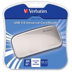 VERBATIM čtečka paměťových karet USB (3.0), SD, microSD, xD, CompactFlash, externí, stříbr
