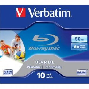 VERBATIM BD-R, Dual Layer Printable, 50GB, jewel box, 43736, 6x, 1 ks, pro archivaci dat