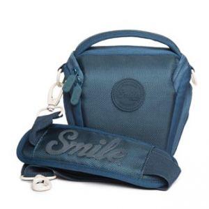 Obal na fotoaparát, polyester/silikon, modrý, Holster Blue, s popruhem, Smile