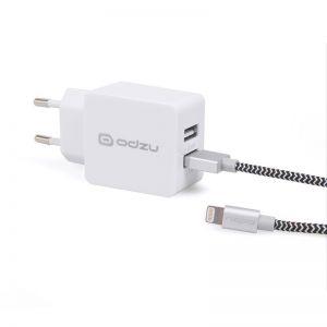 ODZU Wall Charger with MFi Lightning Cable, white , nabíječka s ligtning kabelem