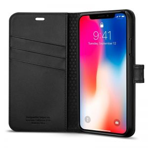 SPIGEN Wallet S, black - pro APPLE iPhone X