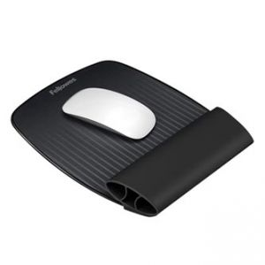 Podložka pod myš a zápěstí, ergonomická, měkká, černá, FELLOWES