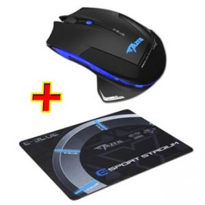 E-BLUE Myš Mazer-R, 2 ks AA, 2.4 [GHz], optická, 6tl., 1 kolečko, bezdrátová, černá, 2500D