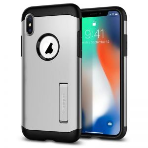 SPIGEN Slim ARMOR, silver - pro APPLE iPhone X
