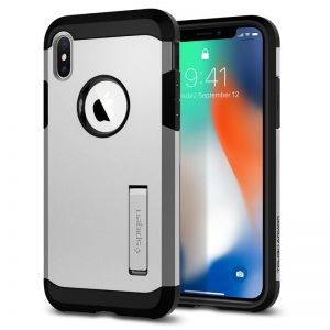 SPIGEN Tough ARMOR, satin silver - pro APPLE iPhone X