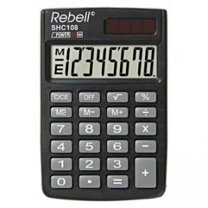 Kalkulačka REBELL RE-SHC108 BX, RE-SHC100N BX, černá, kapesní, osmimístná
