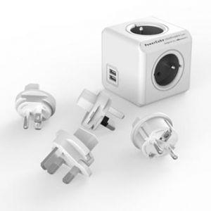 Rozbočovací zásuvka 240V, CEE7 (vidlice)-POWERCUBE, 0.1m, REWIRABLE USB, šedá, POWERCUBE,