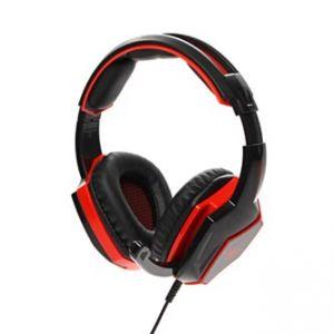 RED FIGHTER herní sluchátka s mikrofonem, ovládání hlasitosti, červeno-černá, 3.5 mm jack