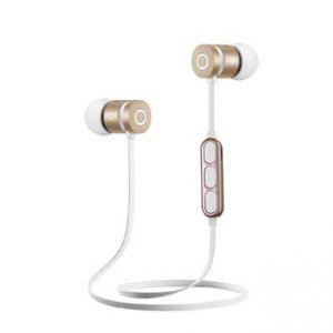 Sluchátka W2, sluchátka s mikrofonem, ovládání hlasitosti, bílo-zlatá