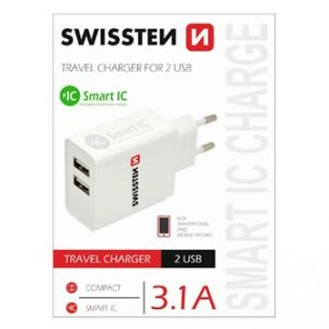 SWISSTEN Síťový adaptér, 2x USB 3,1A, 100V - 240V, 5V, 3100mA, bílá