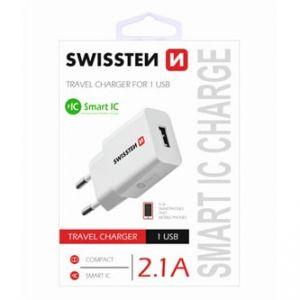 SWISSTEN Síťový adaptér, 1x USB 2,1A, 100V - 240V, 5V, 2100mA, bílá