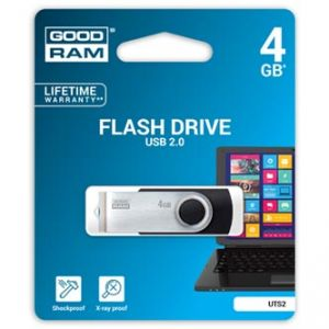 Goodram USB flash disk, 2.0, 4GB, černý, UTS2-0040K0R11, podpora OS Win 7