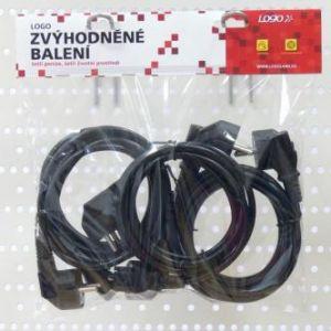 Síťový kabel 230V napájecí, CEE7 (vidlice)-C13, 2m, VDE approved, černý, Logo, 5 pack (eco