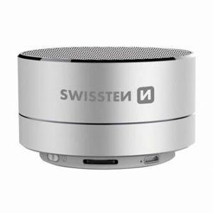 SWISSTEN bluetooth reproduktor, i-METAL, 3W, regulace hlasitosti, stříbrný, bluetooth+USB,