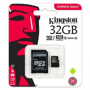 Kingston paměťová karta Canvas Select, 32GB, micro SDHC, SDCS/16GB, UHS-I U1, s adaptérem