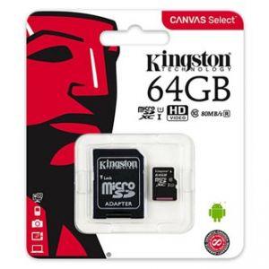 KINGSTON paměťová karta Canvas Select, 64GB, micro SDXC, SDCS/64GB, UHS-I U1, s adaptérem