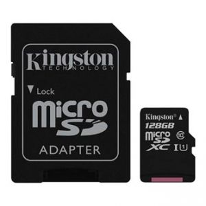 KINGSTON paměťová karta Canvas Select, 128GB, micro SDXC, SDCS/128GB, UHS-I U1, s adaptére