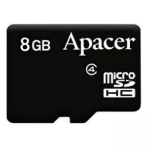 APACER paměťová karta Secure Digital, 8GB, microSDHC, AP8GMCSH4-RA, Class 4, bez adaptéru