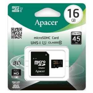 APACER paměťová karta Secure Digital, 16GB, microSDHC, AP16GMCSH10U1-R, Class 10 UHS-I