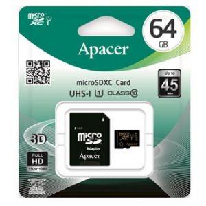APACER paměťová karta Secure Digital, 64GB, microSDXC, AP64GMCSX10U1-R, Class 10 UHS-I