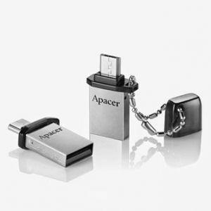 APACER USB Flash Drive OTG, 2.0, 8GB, AH175, stříbrný, černý, AP8GAH175B-1, kovový s plast