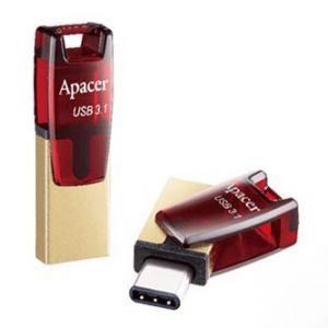 APACER USB Flash Drive OTG, 3.1, 32GB, AH180, zlatý, červený, AP32GAH180R-1, USB 3.1/USB 3