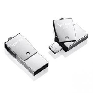 APACER USB Flash Drive OTG, 2.0, 16GB, AH730, stříbrný, AP16GAH730S-1, USB 2.0/USB 2.0 Mic