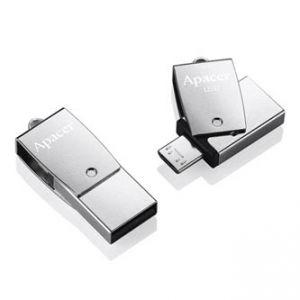 APACER USB Flash Drive OTG, 3.1, 32GB, AH750, stříbrný, AP32GAH750S-1, USB 3.1/USB 2.0 Mic