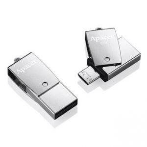 APACER USB Flash Drive OTG, 3.1, 64GB, AH750, stříbrný, AP64GAH750S-1, USB 3.1/USB 2.0 Mic