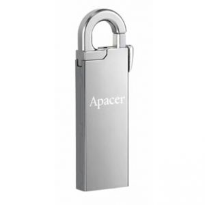 APACER USB Flash Drive, 2.0, 8GB, AH13A, stříbrný, AP8GAH13AS-1, s karabinkou
