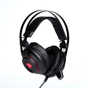 RED FIGHTER herní sluchátka H3 s mikrofonem, ovládání hlasitosti, červeno-černá, podsvíce
