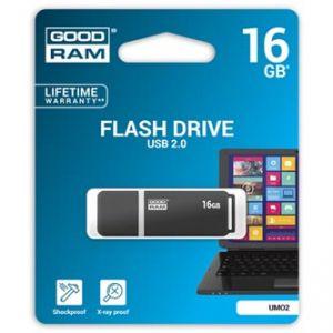 GOODRAM USB flash disk, 2.0, 16GB, UMO2, černý, bílý, UMO2-0160WER11