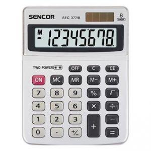 SENCOR SEC 377/8 šedá Kalkulačka stolní, osmimístná, duální napájení, kovový štítek pro