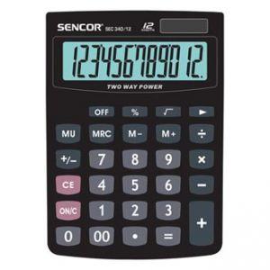 SENCOR SEC 340/12 černá Kalkulačka stolní, dvanáctimístná, duální napájení