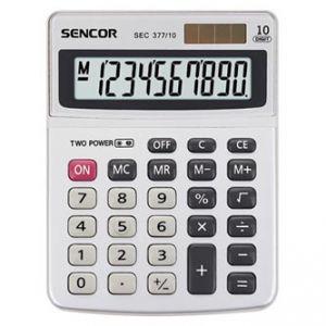 SENCOR SEC 377/10 šedá Kalkulačka stolní desetimístná, duální napájení, kovový štítek