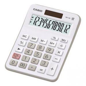CASIO MX 12 B WE Kalkulačka bílo-šedá, duální napájení