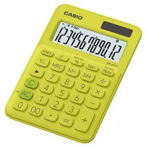 Kalkulačka CASIO, MS 20 UC YG, žlutá, dvanáctimístná, duální napájení